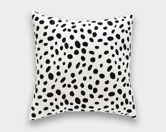 Black Dots Decorative Pillow Cover. Dalmatian Spots Throw Pillow Cover. Choose from 12 Sizes.