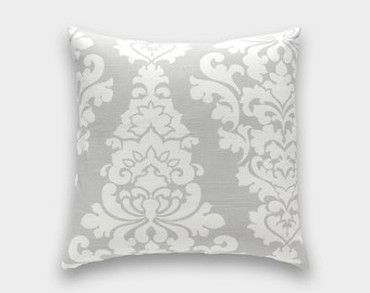 French Grey Berlin Decorative Pillow Cover. Floral Pattern. Pick a Size. Gray Throw Cushion Cover. Floral.