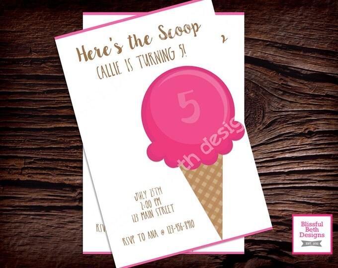 ICE CREAM BIRTHDAY Personalized Here's the Scoop Birthday Invitation, Printable Ice Cream Invitation, Here's the Scoop, Ice Cream Birthday