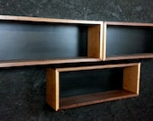 Single Walnut and Cherry Floating Wall Box Book Case Shelf Mid Century to Contemporary Modern Style