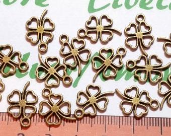 24 pcs a pkg of 16mm Reversible Four Leaves Clover Cut Charm in Antique Bronze