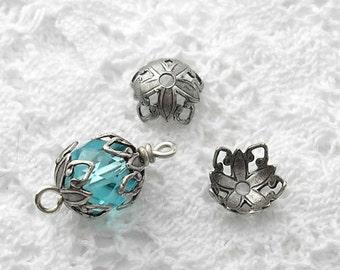 24 Bead Caps Antiqued Silver Filigree Vintage Style Bead Caps