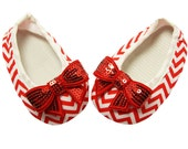 Crib Shoes- Embellished Red and White Chevron