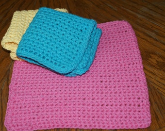 Assorted Spring Colors  Crochet  dishcloth face cloth wash cloth  Set of 3 All Cotton