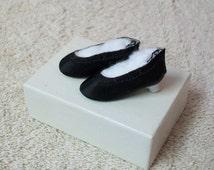 Vintage Doll Shoes Black Satin Heels