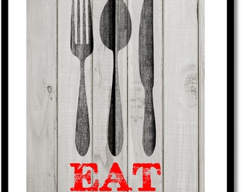 Kitchen Eat sign, barnwood background, kitchen wall decor, fork, knife and spoon