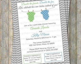 Joint Baby Shower Invitation, polka dot onesies, two boys, light green and blue, Digital, Printable file
