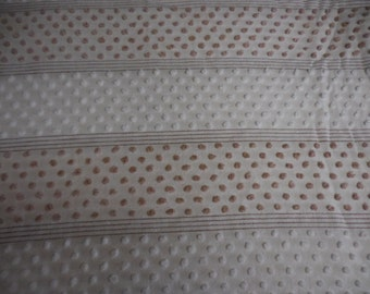 """Morgan Jones MOCHA Brown and White POPS Separated by Mocha Line Designs Vintage Chenille Bedspread Fabric - 24"""" X 24"""""""