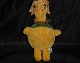 Vintage 1960's Dakin Honolulu Harry Turtle Stuffed Animal Dream Pets Hawaiian Plush Green Yellow Orange Flower Shell