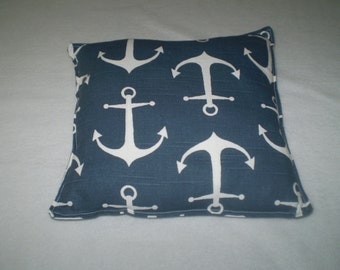 "Handmade Cotton Slub Anchor Pillows 11"" x 11"""