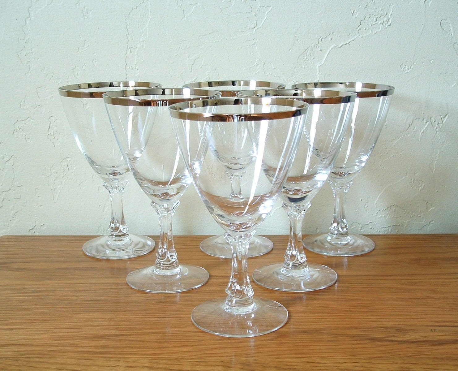 Vintage Fostoria Wedding Ring Glasses Set Of 6 Platinum Rim