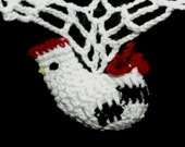 Country Rooster SWAG Curtain Primitive Farmhouse Kitchen Crocheted Roosters & Red Rick Rack