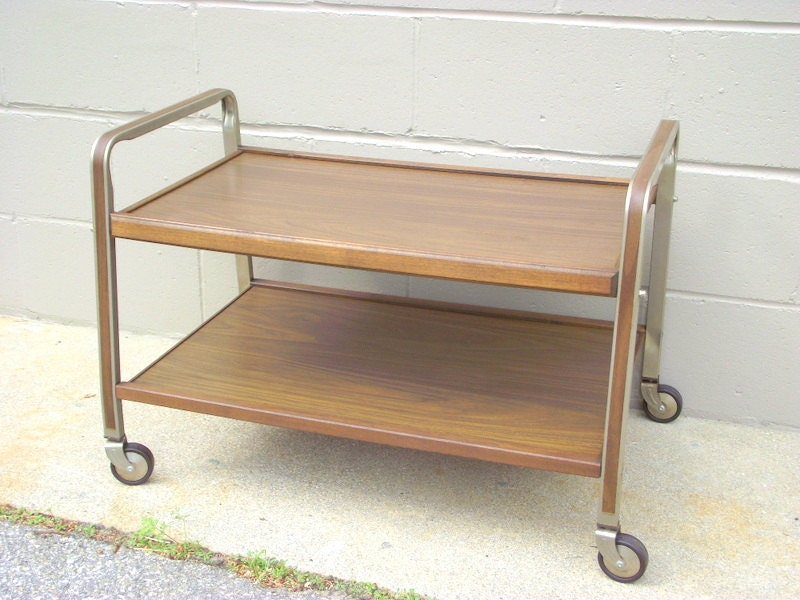 Vintage Rolling Tv Stand Cart Stereo Record Player Holder 60s