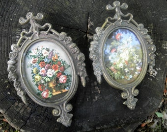 Vintage Italian Metal Frame Set Florentine Italy Picture Petite Floral Prints Shabby Cottage Victorian Chic Home Decor Wall Collage
