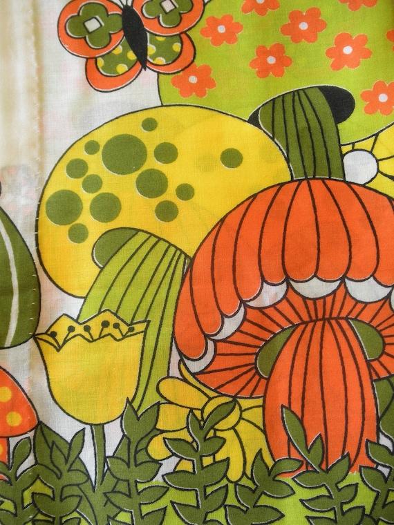 Vintage Mushroom Cafe Curtains 2 Panels Retro 70s Kitsch