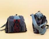 80s Vtg DENIM Doctors Bag Pendleton Style Purse / Hinged Women's Handbag / Blue Jean Large Boho Hippie Shoulder Bag