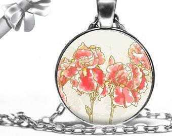 Coral Iris Flowers Necklace Pendant - Choose Size