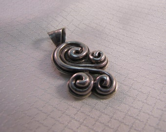 Southwestern Sterling S Scroll Pendant, 1980's