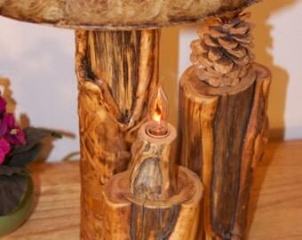 Rustic lamp two bulb - Wood lamp - Aspen lamp - Modern rustic home decor