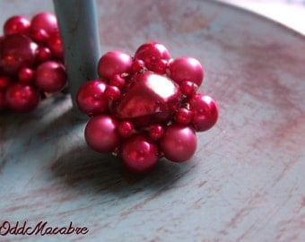 Vintage Red Clip On Earrings