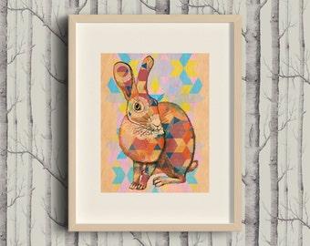Patchwork Rabbit - A4 Giclée art print on HAHNEMUHLE photo rag paper