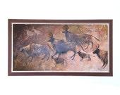 Mid Century Large Original Painting on Board by Nan S Fowler Brown, black and Tan Elk Wildlife Herd Wood Panel Artwork