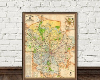 Bucharest map - archival fine print - Harta orasului Bucuresti -