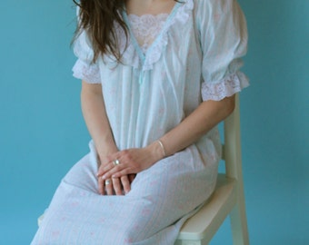 Retro Nightshirt in Powder Blue White and Pink Bows and Roses