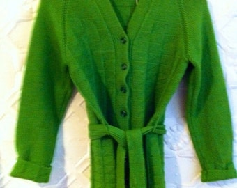 Citris lime green 100 % wool cardigan with belt .