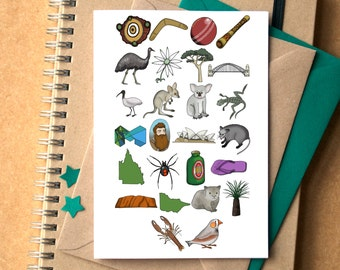 Australia Alphabet Greetings Card - card for Australian - birthday card for Australian - Australia card - Alphabet of Australia card