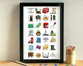 Great Britain Alphabet Print - United Kingdom print - Great Britain art - UK print - UK art - Alphabet of Great Britain