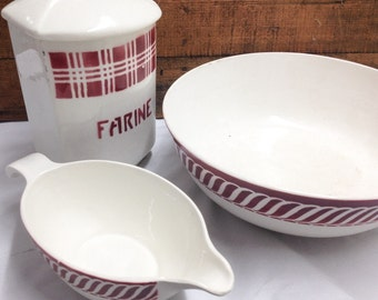 Three Vintage French Ceramic Kitchenalia, French Ceramics, Kitchenalia