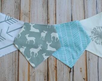 Organic Bamboo Bandana Bibs- Gender Neutral Baby- White Arrows, Grey Deer, Herringbone, Dandelions