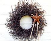 Primitive Country Star Wreath-Fall Wreath-BLUE Twig Wreath-Rustic Primitive Wreath-Blue Home Decor-Western Decor-Scented Wreath-Made USA