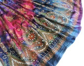 Long Tie Dye Skirt: Gypsy Skirt, Maxi Skirt, Festival Clothing, Bohemian Sequin Hippie Skirt, Flowy Indian Boho Sequin Skirt, Pink Purple