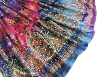 Long Tie Dye Skirt: Gypsy Skirt, Maxi Skirt, Festival Clothing, Bohemian Sequin Hippie Skirt, Flowy Indian Boho Sequin Skirt, Pink Purple