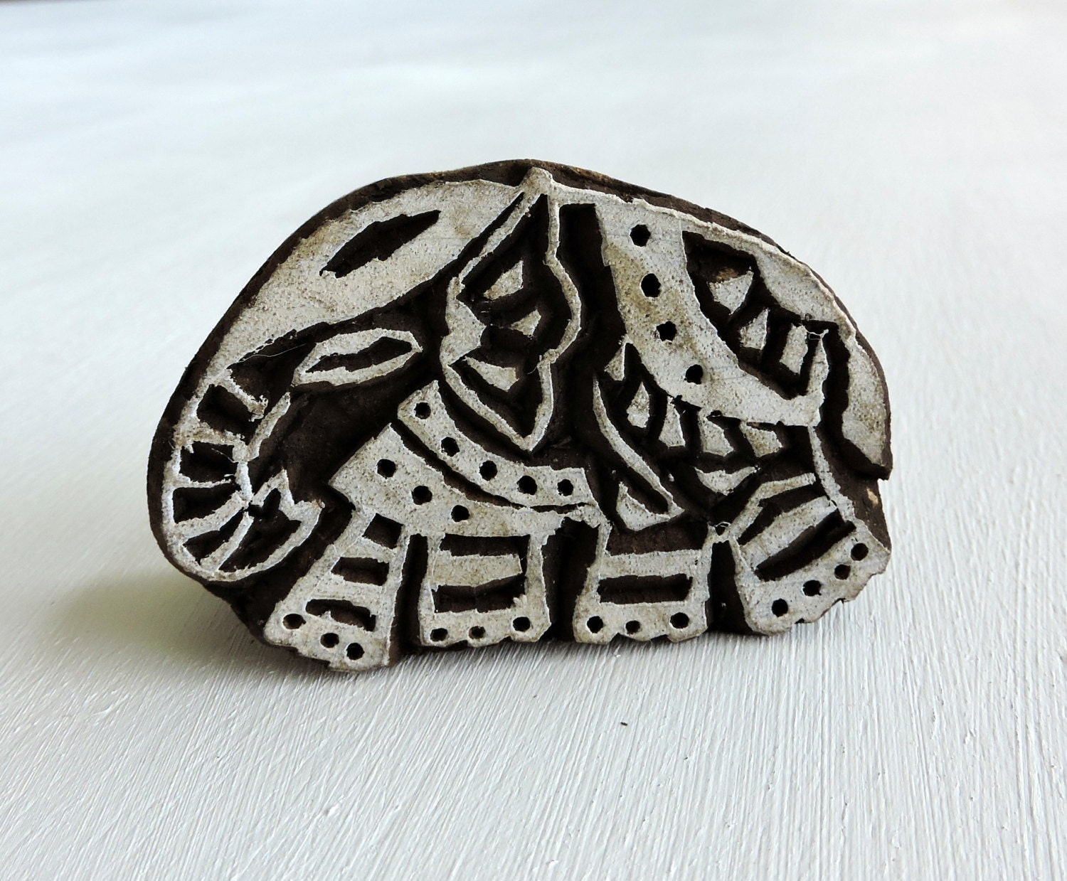 Hand carved indian elephant stamp wood printing block from