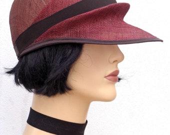 Women summer hat, burgundy sinamay cap hat, garden party