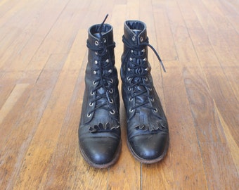 5 C / Western Lace Up Boots / Vintage Black Leather Ropers / Women's Western Shoes