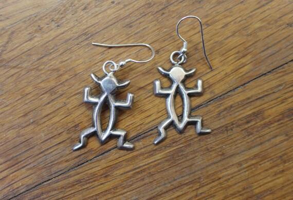 Sand Cast Earrings / Southwest Sterling Silver Jewelry / Kachina Dangle Earrings