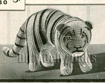 vintage Toy/Animal knitting pattern to make an amazing Tiger