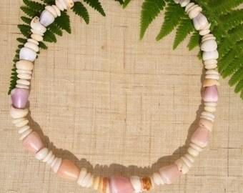 Shell Necklace - Puka Shell Necklace - Shell Lei - Kauai Shells Endemic Kauai Made Hawaiian Style Gathered Eco Freindly Endangered reef Gems