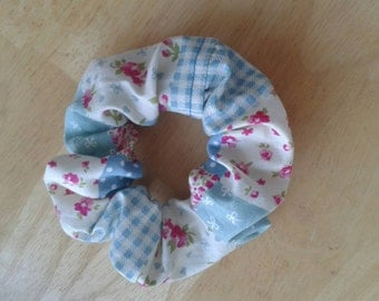 Cute, practical blue patchwork scrunchie