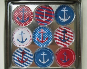 Nautical Anchor Magnets, Sailing Theme, Boat Theme Magnet Set of 9 with Storage Tin