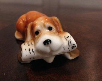 4 inch Ceramic Tiny beagle puppy dog ceramic with newspaper