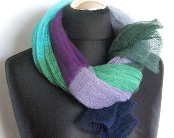 Linen Scarf Shawl Wrap Stole Blue Azure Green Turquoise Multicolored