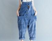 Blue/ green Cotton Loose fitting Woman long Bib/ Large file pants Leisure Harem pants