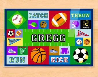 Kids Personalized Sports Placemat, Boys Laminated Mealtime Placemat, Football Placemat, Soccer Placemat, Baseball Placemat, Basketball Mat