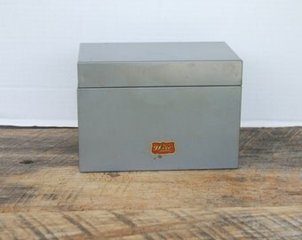 Vintage Silver Grey Weis Card Index File Box Monroe Michigan