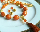 CLEARANCE SALE Was 45.00 Now 22.50 Burnt Orange/Ivory,Vintage Lucite,Frosted Agate,Czech Glass,Tasseled Necklace,Gift for Her